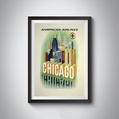 Vintage Chicago Art Print by 2473VintageArt on Etsy