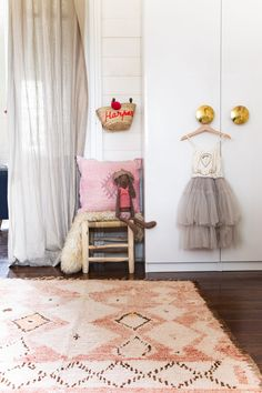 Kids Bedroom - nothing like a lovely vintage Moroccan rug to complete the look in this little girls room  available from https://tigmitrading.com/collections/beni-mguild-rugs/products/cocoon-rehamna