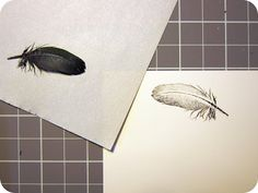 Stamping with Feathers -- the results are so soft and romantic lemmemakeit: feather printing with Pico