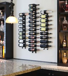 This single deep wall mounted wine rack adds beauty and functionality to any wine storage display. Perfect for a beautiful wine display in the home or a commercial space. Wine Rack Design, Cellar Design, Wine Rack Storage, Wine Rack Wall, Wine Rack In Cabinet, Wine Rack Inspiration, Unique Wine Racks, Modern Wine Rack, Wine Display
