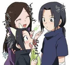 These two are getting along so well, what exactly happened here? Itachi, Izumi and Sasuke