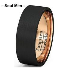8mm Men's Wedding Band Black Rose Gold Tungsten Ring Brushed Surface 2016 Best Valentine's Gift for Male Female Size 7 to 13