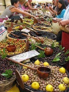 Olive stand in the market, France