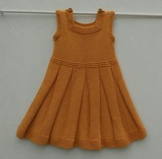 Dress or pinafore/tunic, for a baby girl or toddler,hand knitted in cool cotton in a soft orange shade, age approx 12 months Baby Knitting Patterns, Knitting For Kids, Hand Knitting, Knitting Machine, Knitting Projects, Toddler Girl Dresses, Girls Dresses, Girl Toddler, Baby Dresses