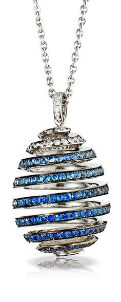 Spiral Diamond and Sapphire Pendant by Fabergé