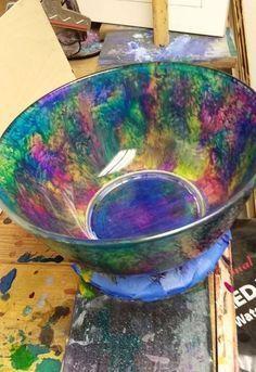 peek a boo bowl - unicorn spit on glass bowl