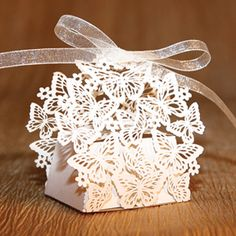 White Butterflies Wedding Favor Boxes - Set of 10