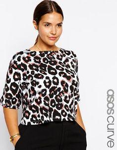 ASOS CURVE Exclusive Crop Top In Leopard Print