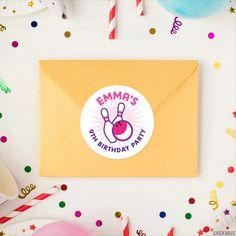 Pink Bowling Birthday Stickers – Chickabug