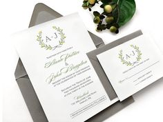 Citrus Lemon & Lime Wedding Invitation Suite by SideStreetDesigns