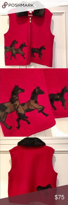 🎀 HORSE-LOVERS VEST FUR COLLAR - PONY DETAILS 🎀 Unique Vest with beautiful Horse Details. Removable Fur Collar on crimson red boiled wool fabric and gold tabbed zip. The Horses are magnificent with 3D details of tail and mane.  MUST HAVE!  Size XL. In EXCELLENT Like New Condition. LISA INTERNATIONAL Jackets & Coats