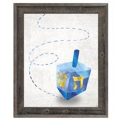 Click Wall Art 'Spinning Dreidel' Framed Graphic Art Size: