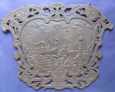 Antique Victorian Architectural Cast Iron Carved Plaque Art Panel Ship Sea Birds