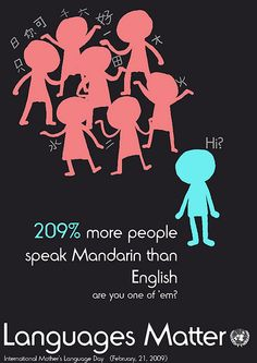 Languages Matter by vvn sze, via Flickr. This is a poster showing the importance of languages. I used the example of the Mandarin language compared to English. The purpose of the image is to portray a problem with knowing very few languages, such as problems with communication.