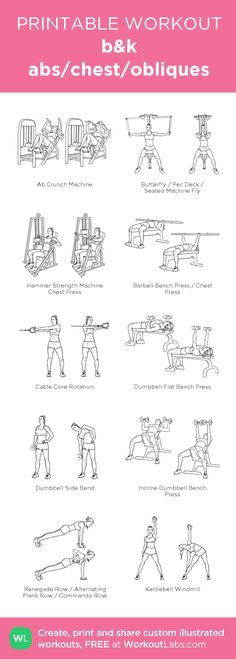 b&k abs/chest/obliques:my visual workout created at WorkoutLabs.com • Click through to customize and download as a FREE PDF! #customworkout