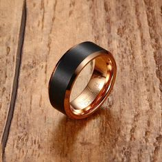 Fashion Mens Tungsten Carbide Ring Men Black Matte Brushed Wedding Band Rose Gold-Color Beveled Edge Engagement Ring Jewelry