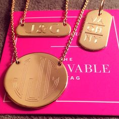 Engravables from Stella&Dot! Such a fun piece to layer. I got mine with my soon to be new initials! www.stelladot.com/michaelaidhammar