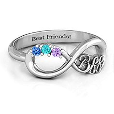 "Friendship Infinity Ring with 2 - 7 Stones The 'BFF Friendship Infinity Ring"". The perfect friendship ring - add stones and choose your metal!The 'BFF Friendship Infinity Ring"". The perfect friendship ring - add stones and choose your metal! Best Friend Rings, Best Friend Jewelry, Bff Rings, Cute Rings, Jad, Friendship Jewelry, Friend Necklaces, To Infinity And Beyond, Cute Jewelry"