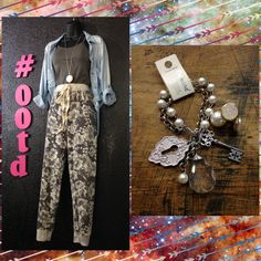Our #OOTD is out of this world! #YoungAtHeartLA floral jogger pants are perfect for a comfy casual look or a night out when worn with heels! We paired these beauties with a gray cami, oversized button up, lock and key bracelet, and double sided earrings! #floral #jogger #boutique #modame #LongviewTexas #style2015