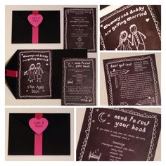 Chalkboard mummy & daddy are getting married pocketfolds by Mad Philomena Www.madphilomena.co.uk We specialise in unique, quirky individual styling & stationery - come see us xx