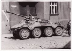 Sd kfz 234/4 Puma armoured car - the final 1944 production version, with long barrelled 75mm gun.  By this time usage was more about giving mobility to the highly effective gun than traditional reconnaissance tasks, but it was a stretch too far: only 12 main armament rounds could be accommodated.