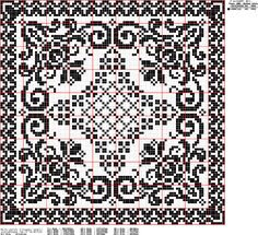 doily of filet crochet Cross Stitch Pillow, Cross Stitch Tree, Cross Stitch Borders, Cross Stitch Charts, Cross Stitch Designs, Cross Stitching, Cross Stitch Embroidery, Filet Crochet Charts, Crochet Cross