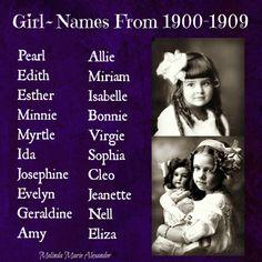 Vintage Girl Names from 1900 1909 vintagegirlnames girlnames vintagenames ch… - Baby Boy Names Baby Girl Names Baby Girl Names Elegant, Girls Names Vintage, Cute Baby Names, Unique Baby Names, Boy Names, Vintage Boys, Name Writing, Writing A Book, Writing Tips