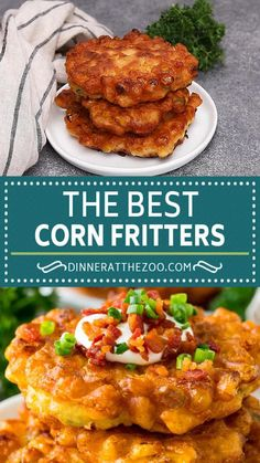 Ultra crispy corn fritters are the best way to enjoy fresh corn! Corn Fritter Recipes, Corn Recipes, Side Dish Recipes, Vegetable Recipes, Mexican Food Recipes, Creamed Corn Fritters Recipe, Cream Corn Fritters, Corn Fritters Healthy, Sweet Corn Fritters