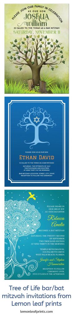 Tree of life Bar Mitzvah invitations. Shop for them on Lemon Leaf Prints:  https://lemonleafprints.com/?search_performed=Y&match=all&q=tree+bar+mitzvah+invitation&pname=N&pname=Y&cid=0&category_name=All+categories&subcats=N&subcats=Y&company_id=&hint_=Search...&pcode=tree+bar+mitzvah+invitation&price_from=&price_to=&weight_from=&weight_to=&dispatch%5Bproducts.search%5D=