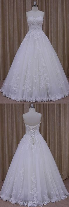 Ball Gown Wedding Dresses, Tulle Lace Bridal Gowns, Simple Ivory Wedding Dress, Long Beach Wedding Dresses #weddinggowns