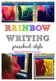 Window writing practice & mixing primary colors in preschool! {Modern Preschool}