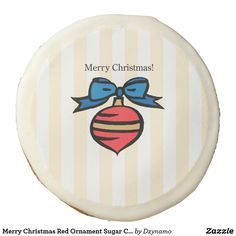 2102d6fdc62c97 Merry Christmas Red Ornament Sugar Cookie Yellow Red Christmas Ornaments