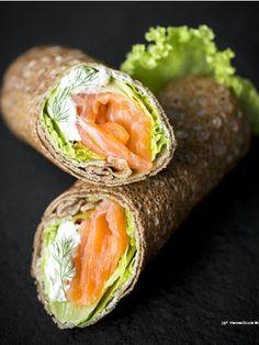 Wraps de saumon à la crème de ciboulette - Recette