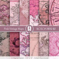 Maps Digital Paper, Pink Old Maps, Antique Maps, Digital Paper Pack Vintage INSTANT DOWNLOAD  Use for Scrapbooking, Cardmaking, Handmade