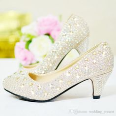 b570bbb2fb Shiny Crystal 2015 Wedding Shoes 5cm Medium Heel Sequined Bridal Shoes  Rhinestone Silver Prom Party Shoes Red and Gold