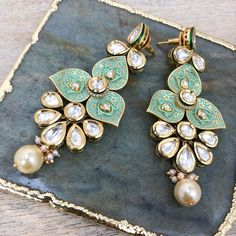 wedding jewelry Shop these statement earrings by clicking on this image. Indian Jewelry Earrings, Jewelry Design Earrings, Indian Wedding Jewelry, India Jewelry, Big Earrings, Designer Earrings, Jewelry Shop, Statement Earrings, Bridal Jewelry
