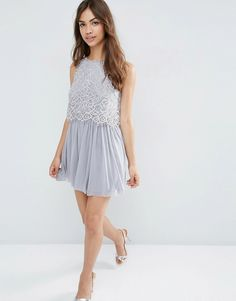 Image 4 ofASOS Delicate Lace Crop Top Mesh Skater Prom Dress
