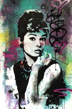 Audrey Hepburn - Mix Media - graffiti on canvas fashion beauty streetart urban art pop art by therawart on Etsy https://www.etsy.com/listing/107508273/audrey-hepburn-mix-media-graffiti-on