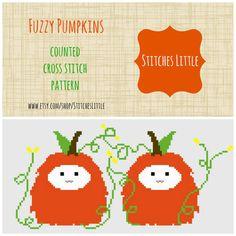 Kawaii Cross Stitch Pattern - Fuzzy Pumpkins - PDF - Instant Download on Etsy, $4.00