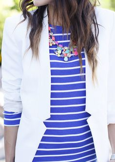 statement necklace, stripes, and blazer