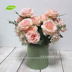 GNW FL-RS52-7-4 Latest design Artificial Rose and hydrangea flower bouquet for home Decoration