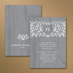 Woodland Flowers in Pewter Wedding Invitation