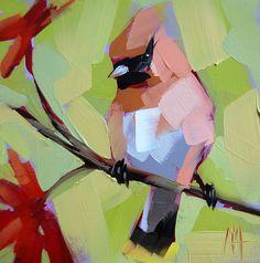 Cedar Waxwing and Japanese Maple bird art print by Angela Moulton 6 x 6 inches prattcreekart