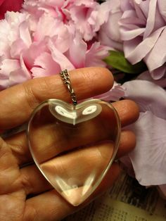 1960s Mid Century Mod Huge Clear Lucite Puffed Heart by Glamaroni