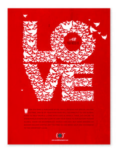 """Starbucks united with Project RED for a holiday charity campaign titled """"Love Is All You Need."""" The campaign consisted of CD packaging, posters, and point of purchase displays."""