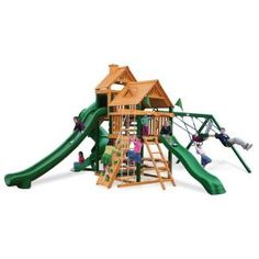 Gorilla.  Big Skye II Playset.  $3200.  The Big Sky II Play Set features a total of 3 slides. The Wave Slide, Tube slide, and a Super Scoop Slide. It also includes 2 covered play-suites, a rock climb wall with climbing rope, 3 swing positions, a safe-entry ladder, a sand box and a built-in picnic table.