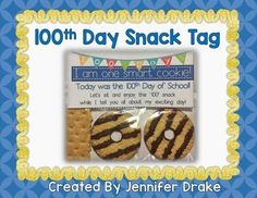 Day Snack Tag *FREEBIE Day Are you getting ready to celebrate the Day of School? You can find all my Day resources here! Want a fun snack to School Today, 100 Days Of School, School Holidays, 100 Day Of School Project, School Projects, School Treats, School Snacks, Silhouette Designer Edition