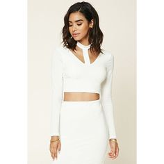 Forever 21 Women's  Stretch-Knit Cutout Crop Top ($20) ❤ liked on Polyvore featuring tops, cutout tops, cut out crop top, forever 21, forever 21 tops and white crop top