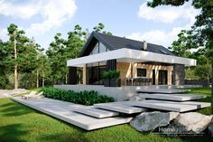 Discover recipes, home ideas, style inspiration and other ideas to try. Modern Bungalow Exterior, Modern Bungalow House, Modern Farmhouse Exterior, Home Building Design, Home Design Plans, Skandinavisch Modern, Modern Outdoor Kitchen, Modern Small House Design, Design Living Room