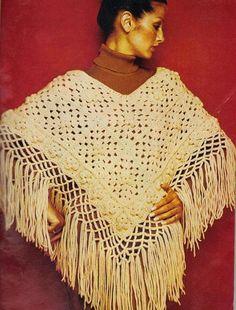 Fringed Vintage Crochet Granny Poncho Pattern - this is so boho!